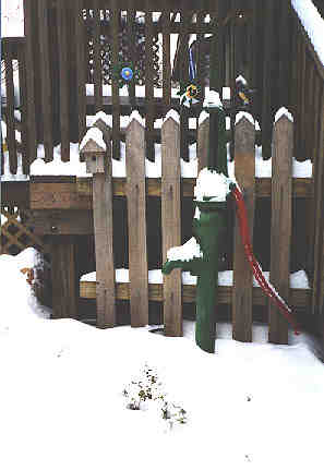 Hand pump in the snow!